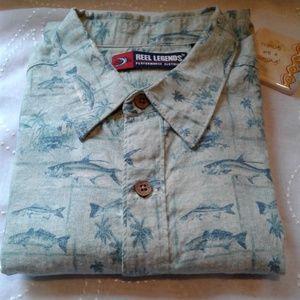 Reel Legends  button down short sleeve shirt